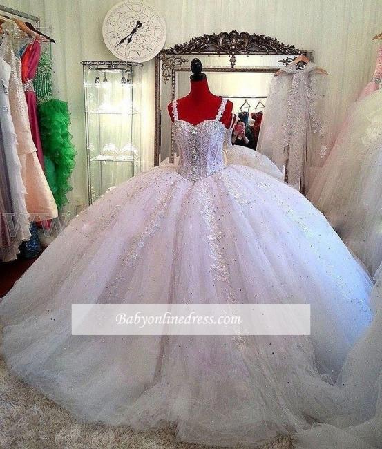 Robe de mariée princesse avec bretelles | Robe de mariage princesse tulle luxueuse
