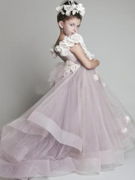 Forme Princesse Tulle Traîne moyenne Robes de demoiselle d'honneur - fillette avec Fleurs
