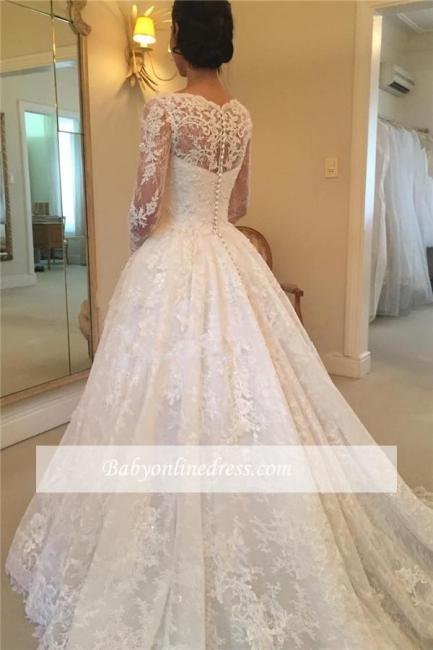 Robe de mariée princesse dentelle élégante | Robe de mariage princesse manches longues