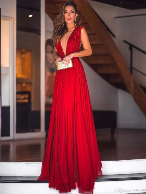 Robe de soirée fourreau longue col en V avec perles | Robe de cérémonie fourreau longue brillante sexy