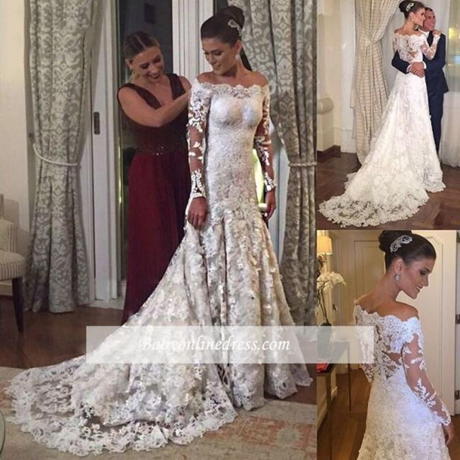 Robe de mariée sirène dentelle élégante | Robe de mariage trompette épaules nues