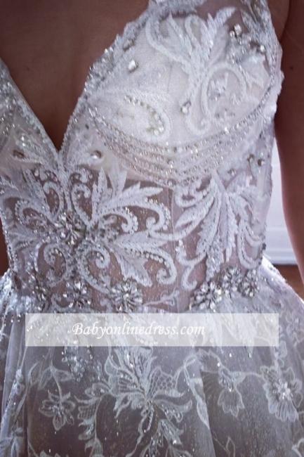 robe de mariée longue princesse en appliques dentelles avec cristaux