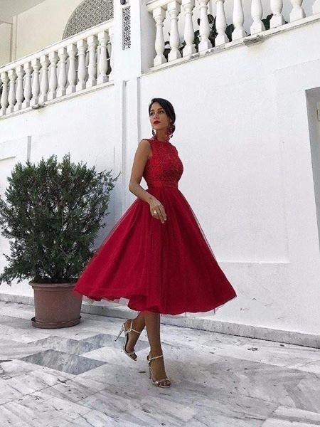Forme Princesse Col Rond Sans Manches Tulle Robe de Soirée Dentelle
