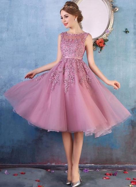Forme Princesse Longueur Genou Col Rond Sans Manches Robes de soirée 2021 avec Perle Dentelle