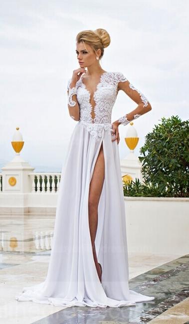Forme Princesse Longueur ras du sol Col en V Mousseline polyester 2021 Robes de bal avec Dentelle