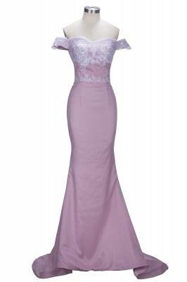 Forme sirène robe de cérémonie en dentelle délicat épaule nu boutonnage dans le dos_1