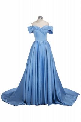 Forme Princesse Traîne moyenne Epaules nues Satin Robe de Soirée Longue Robe de Gala_1