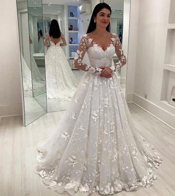Robe de mariée A-ligne chic avec appliques | Robe de mariage manches longues_3