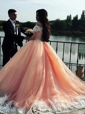 Robe de mariée princesse dentelle élégante   Robe de mariage trompette épaules nues_4