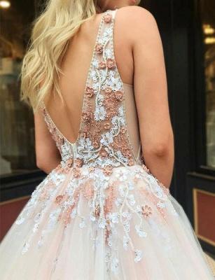 Robe de bal princesse col en V | Robe de soirée princesse avec appliques_5