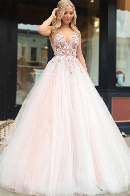 Robe de bal princesse col en V | Robe de soirée princesse avec appliques_1