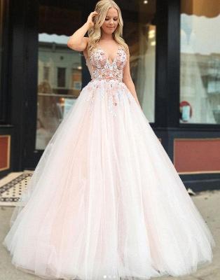 Robe de bal princesse col en V | Robe de soirée princesse avec appliques_3