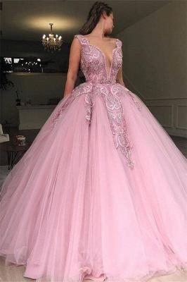 Robe de bal princesse tulle avec appliques | Robe de soirée princesse col en V_1