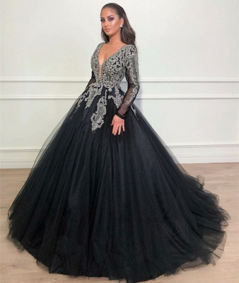 Robe de bal princesse brillante col en V | Robe de soirée princesse manches longues_3