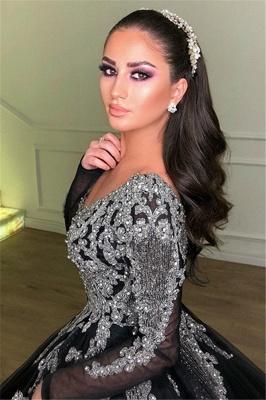 Robe de bal princesse brillante col en V | Robe de soirée princesse manches longues_2
