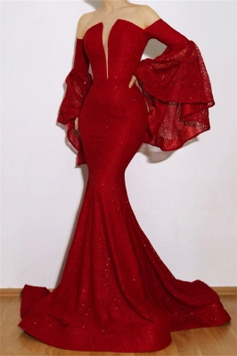 Robe de soirée sirène manches à godets | Robe de cérémonie trompette épaules nues_1