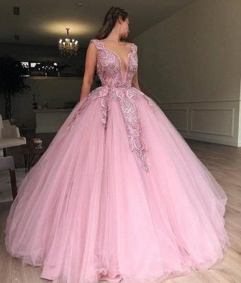 Robe de bal princesse tulle avec appliques | Robe de soirée princesse col en V_2