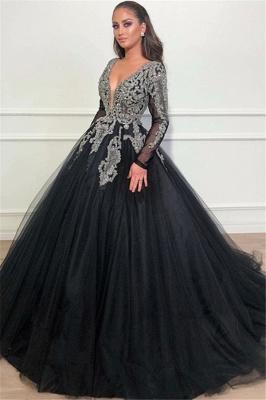 Robe de bal princesse brillante col en V | Robe de soirée princesse manches longues_1