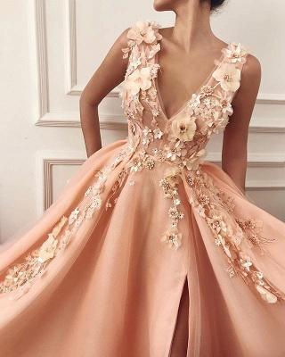 Robe de bal princesse chic avec appliques | Robe de soirée princesse col en V_2
