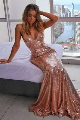 Robe de soirée sirène pailletée sexy | Robe de cérémonie trompette bretelles fines_1