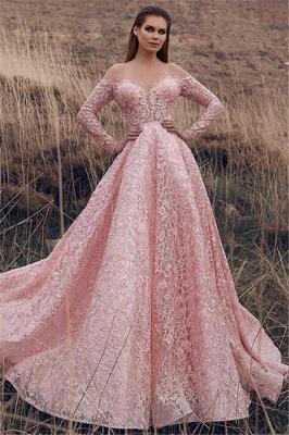 Robe de bal princesse dentelle délicate | Robe de soirée princesse manches longues_1