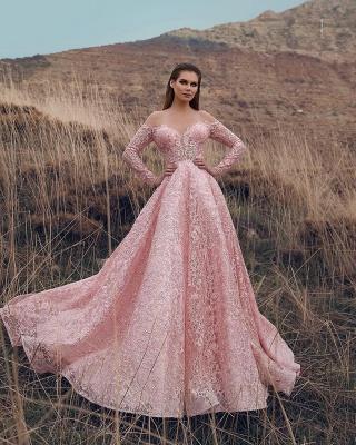 Robe de bal princesse dentelle délicate | Robe de soirée princesse manches longues_2