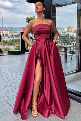Robe de bal princesse moderne sans bretelles   Robe de soirée princesse fendue devant_1