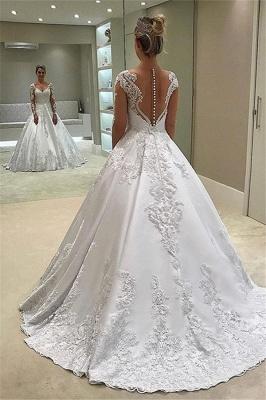 Robe de mariée princesse manches longues   Robe de mariage princesse col en V_2