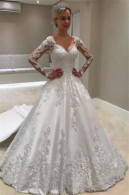 Robe de mariée princesse manches longues   Robe de mariage princesse col en V_1
