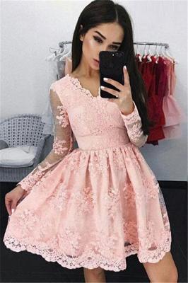 Forme Princesse Court/Mini Col en V Robes de soirée 2021 avec Dentelle_1