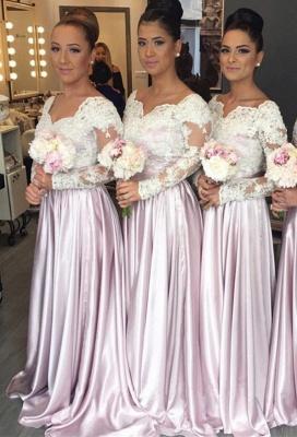 Forme Princesse alayage/Pinceau train Col en V Satin Elastique Robes de Demoiselles d'Honneur avec Dentelle_1