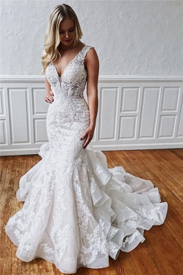 robe de mariée longue sirène dos nu en dentelle_1
