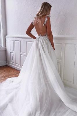 robe de mariée longue princesse a-ligne col V dos nu en dentelles_3