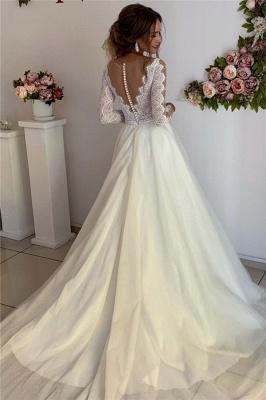 robe de mariée longue élégante avec dentelles en tulle_2