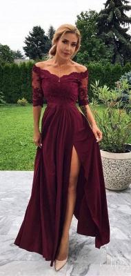 robe de soirée longue épaules nues en dentelle avec fente_2