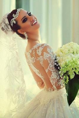 Forme Marquise Traîne moyenne Col U profond Dentelle 2020 Robes de mariée avec Dentelle_6