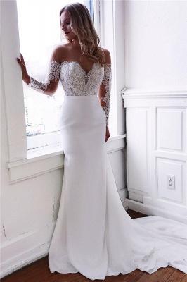 robe de mariée longue sirène trompette épaules nues en dentelles_1