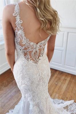 robe de mariée longue luxueux sirène en dentelle avec cristaux_3