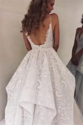 robe de mariée longue princesse asymétrique en appliques dentelles avec bretelles spaghetti traîne_2