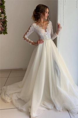 robe de mariée longue élégante avec dentelles en tulle_1