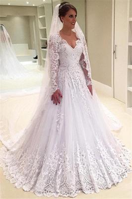 Forme Princesse Traîne moyenne Col en V Tulle Robes de mariée 2021 avec Appliques_1