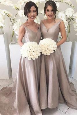 Forme Princesse Traîne moyenne Col en V Satin Elastique robes de demoiselles d'honneur_1