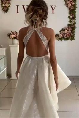 robe de mariée asymétrique en dentelle avec traîne_2