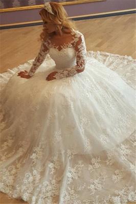 Forme Marquise Traîne Moyenne Col en V Manches Longues Robes de mariée avec Dentelle_1