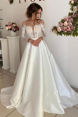 robe de mariée longue princesse en appliques dentelles avec manches longues