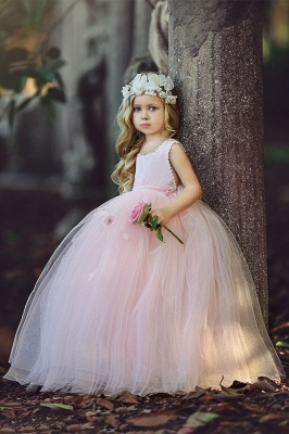 Forme Marquise Longueur ras du sol Tulle Robes de demoiselle d'honneur - fillette avec Fleurs