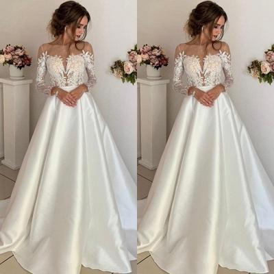 robe de mariée longue princesse en appliques dentelles avec manches longues_2