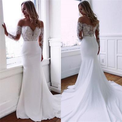 robe de mariée longue sirène trompette épaules nues en dentelles_2