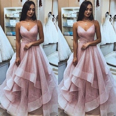 Robe de bal princesse bretelles fines | Robe de soirée princesse chic à volants_2