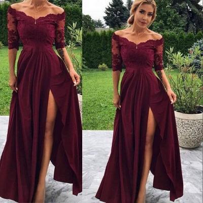 robe de soirée longue épaules nues en dentelle avec fente_3